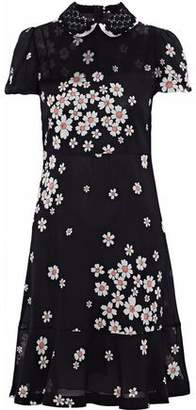 RED Valentino Lace-Trimmed Floral-Print Stretch-Silk Chiffon Mini Dress
