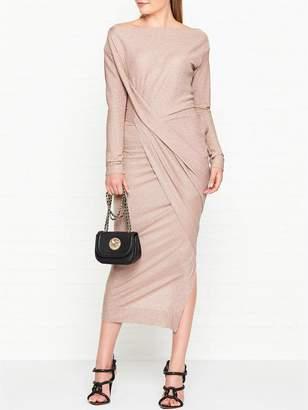 Vivienne Westwood Vian Glitter Jersey Drape Long Sleeve Dress - Light Pink