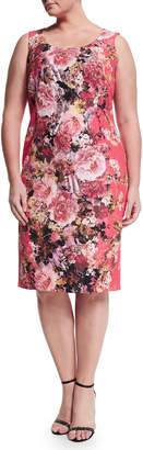 Marina Rinaldi Dolcetto Floral-Print Sheath Dress W/ Sleeves, Plus Size
