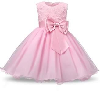 Oukaiyi Girl Sleeveless Lace 3D Flower Tutu Holiday Princess Dresses(,18-24Months)