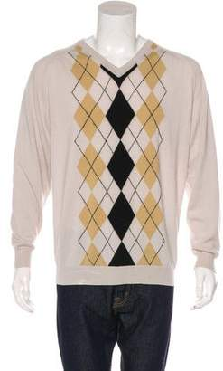 Burberry Golf Extra Fine Merino Wool Argyle Sweater