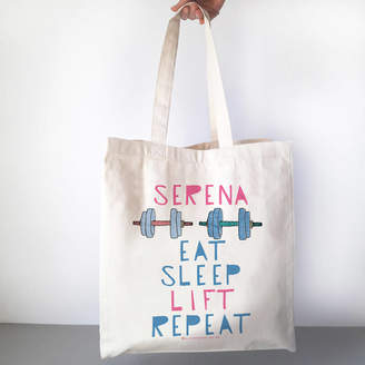 17020499c82437 Alice Palace Eat Sleep Lift Repeat Personalised Gym Bag