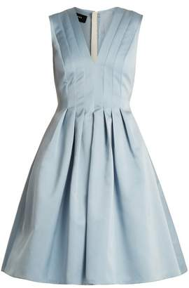 Rochas V Neck Pleated Duchess Satin Dress - Womens - Light Blue