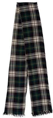 Saint Laurent Plaid Fine Knit Scarf