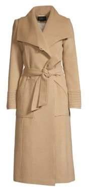 Sentaler Long Wide-Collar Wool Wrap Coat