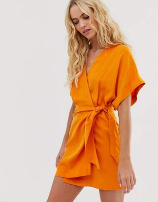 And other stories &  tie belt detail mini dress in orange