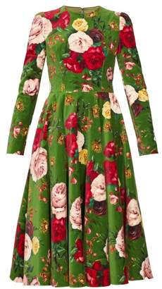 Dolce & Gabbana Rose Print Cotton Blend Velvet Dress - Womens - Green Multi