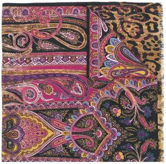 Etro paisley leopard print scarf