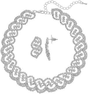 Crystal Avenue Scalloped Choker Necklace & Drop Earring Set