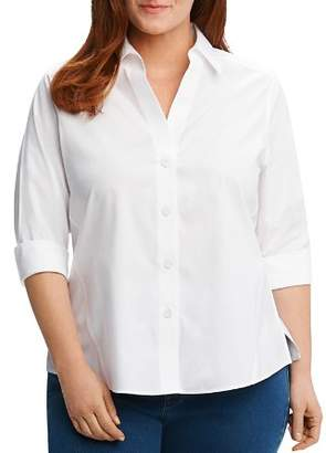 Foxcroft Plus Paige Three-Quarter Sleeve Poplin Shirt