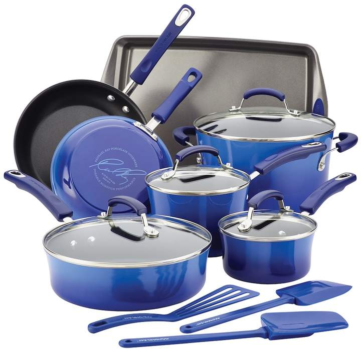 Rachael Ray 14-pc. Hard Enamel Nonstick Cookware Set