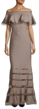 Tadashi Shoji Off-The-Shoulder Gown $408 thestylecure.com