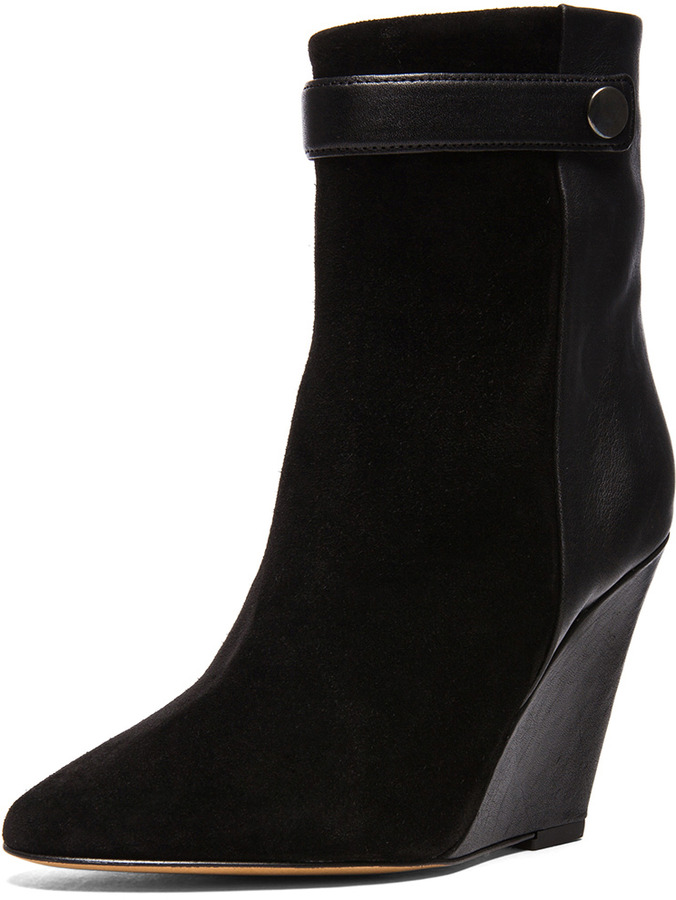 Isabel Marant Purdey Calfskin Velvet & Leather Booties in Black