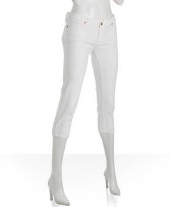 AG Adriano Goldschmied white 'Poet' slim denim capris