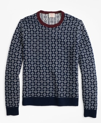 Brooks Brothers Geometric-Print Wool Sweater