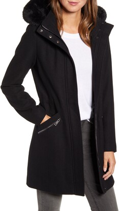Kenneth Cole New York Wool Blend Twill Hooded Coat with Faux Fur Trim