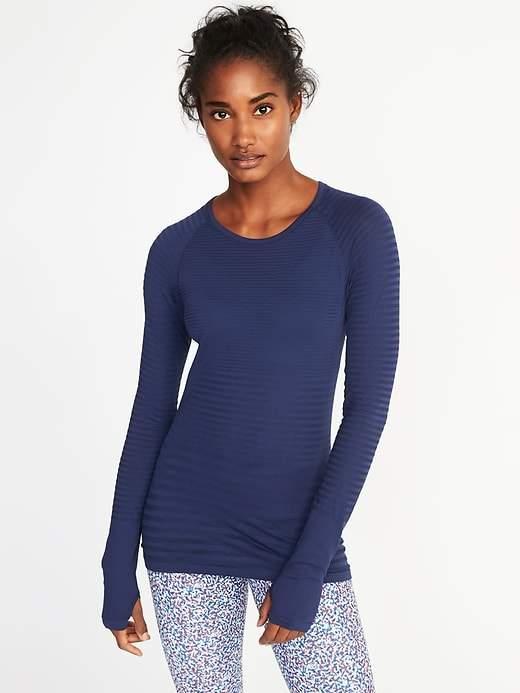 Seamless Mesh-Stripe Top for Women