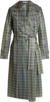 WANDA NYLON Tie-waist coated-tartan trench coat