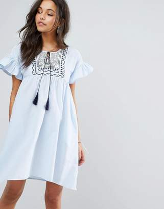 Mango Frill And Embroidered Smock Dress $57 thestylecure.com