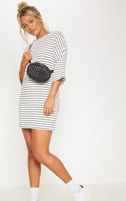 PrettyLittleThing White Stripe Boyfriend Fit T Shirt Dress