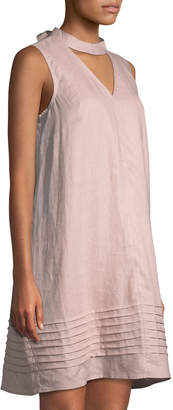 Neiman Marcus Choker-Neck Linen Shift Dress