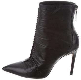 Alexandre Birman Leather Pointed-Toe Ankle Boots Black Leather Pointed-Toe Ankle Boots
