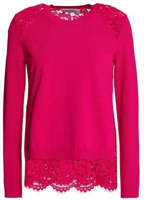Valentino Lace-paneled Knitted Top