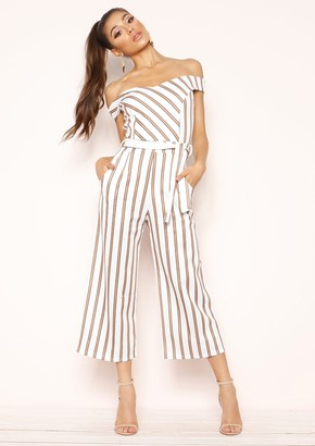 4b92172925e Missy Empire Missyempire Ophelia White Camel Stripe Belted Culotte Jumpsuit