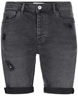 Topman Mens Grey Dark Gray Ripped Stretch Skinny Denim Shorts