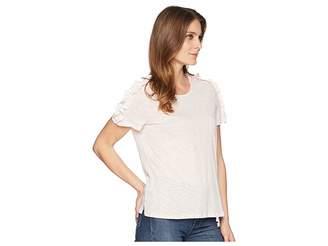 CeCe Short Sleeve Mix Media Knit Top Women's Clothing