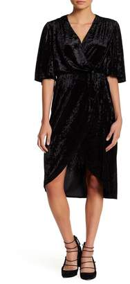 Alexia Admor Flutter Sleeve Velvet Wrap Dress