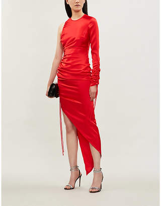 David Koma Asymmetric ruched satin midi dress