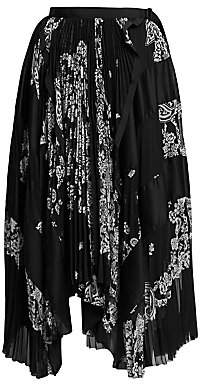Sacai Women's Asymmetric Floral Pleated Skirt