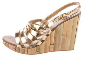 Miu Miu Leather-Trimmed Wood Wedges