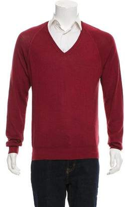 Prada Wool & Silk-Blend V-Neck Sweater