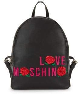 Love Moschino Rose Embroidery Leather Backpack