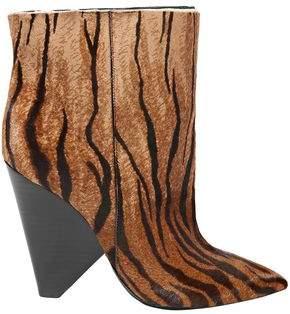 Saint Laurent Niki Zebra-print Calf Hair Ankle Boots