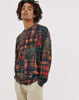 Asos Design DESIGN oversized long sleeve t-shirt with all over patchwork check print