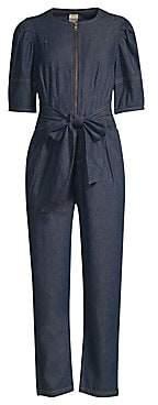 Rebecca Taylor Women's Denim Zip Tie-Waist Cropped Jumpsuit