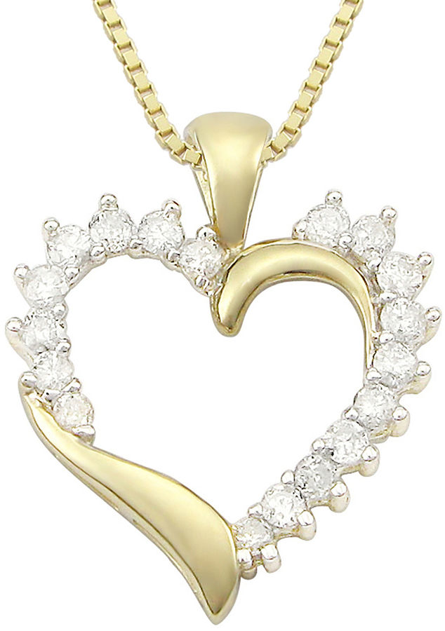 Jcpenney fine jewelry ct t w diamond 10k yellow gold for Fine jewelry diamond pendants