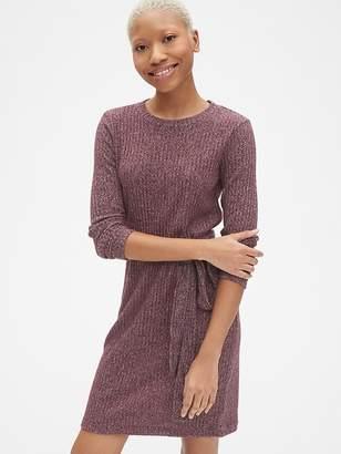Gap Softspun Ribbed Long Sleeve Tie-Waist Dress