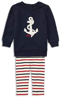 Ralph Lauren Girls' Anchor Sweatshirt & Striped Leggings Set - Baby