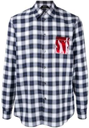 No.21 chest pocket detail check shirt