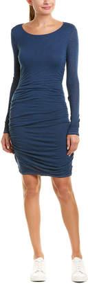 Three Dots Shirred Wool-Blend Midi Dress