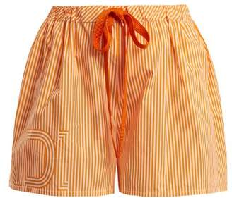 Fendi Striped Cotton Poplin Shorts - Womens - Orange