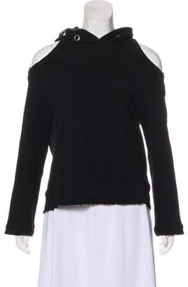 RtA Denim Hooded Cold Shoulder Sweatshirt