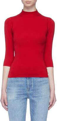 Theory Pointelle knit border Merino wool blend turtleneck sweater