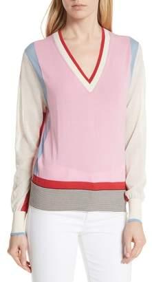 Diane von Furstenberg Colorblock Cotton Blend Sweater