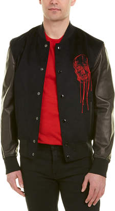 Alexander McQueen Leather-Sleeve Varsity Jacket