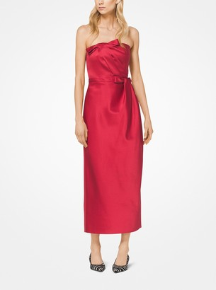 Michael Kors Silk-and-Wool Duchesse Strapless Cocktail Dress